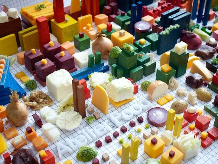 Architectural Blueprint of an Entire City Made of Food By Petter Johansson