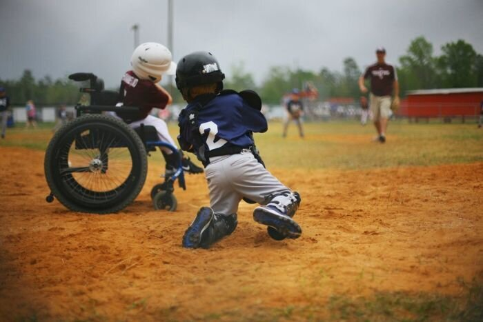Handicap Child's First Baseball Hit