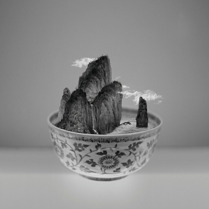 Taipei Landscapes Served in Traditional Porcelain Bowls By Yang Yongliang