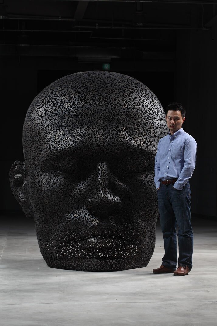 Large Bicycle Chain Sculptures of Meditative Faces By Young-Deok Seo