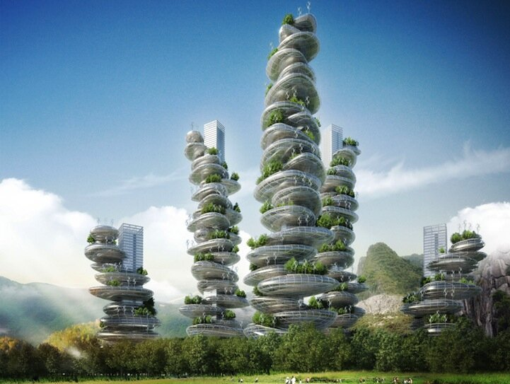 "Innovative ""Farmscrapers"" are Skyscraping Rural Communities By  Vincent Callebaut's"