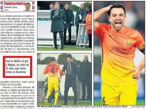 Xavi's Celebration Dedicated Young Boy With Cancer (Miquel)