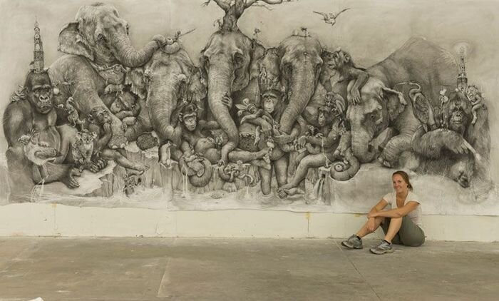 Enormous Painting Drawn Using Only Carbon Pencil By Adonna Khare
