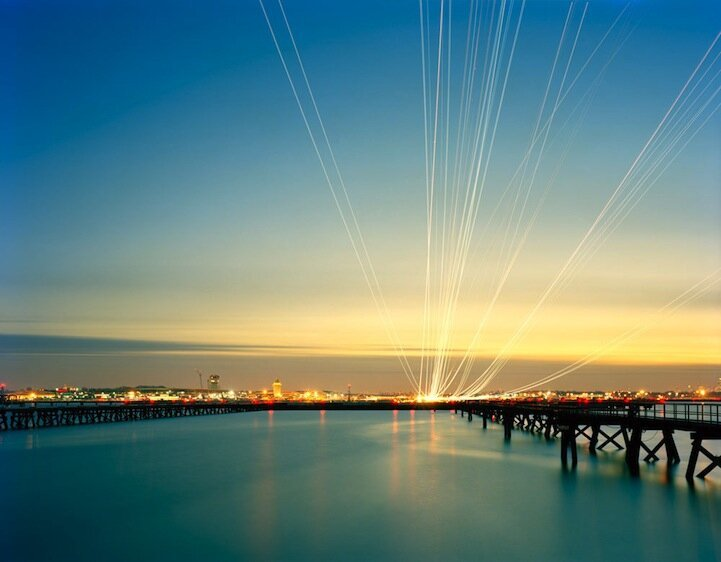 Dazzling Light Streaks Show Airplane Flight Paths