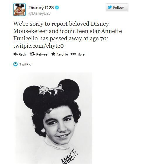 BREAKING NEWS: Legendary Mouseketeer Annette Funicello Dead at 70