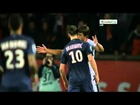 L'amour! Renato Civelli (Nice) kisses Zlatan Ibrahimovic (PSG) on the