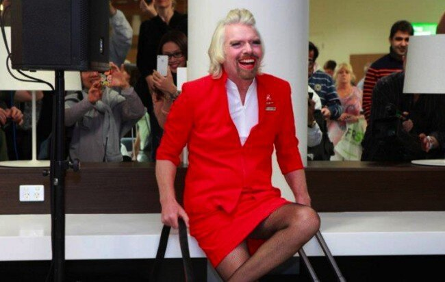 Richard Branson Dressed As Ugly Woman After Losing Bet