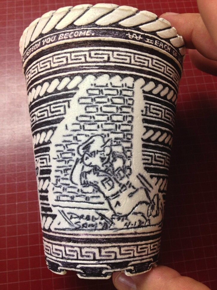 Man Finds Incredibly Detailed Pen Drawings on Styrofoam Cup