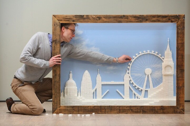 2,186 Sugar Cubes Form a Beautiful London Skyline