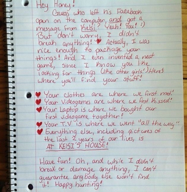 Breakup Note Left for Cheating Boyfriend Is a Hilarious Scavenger Hunt