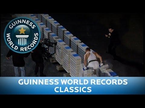 Unbelievable! Man Breaks Record 1,145 Concrete Blocks in One Minute