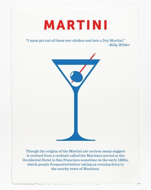 Minimalist Screen Printed Posters of Classic Cocktails