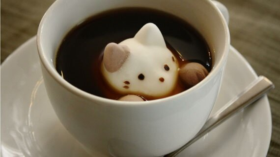 Fake Latte Art With Kitty Marshmallows