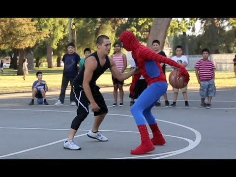 Do Not Challenge Spider Man To A Street Basketball Game!