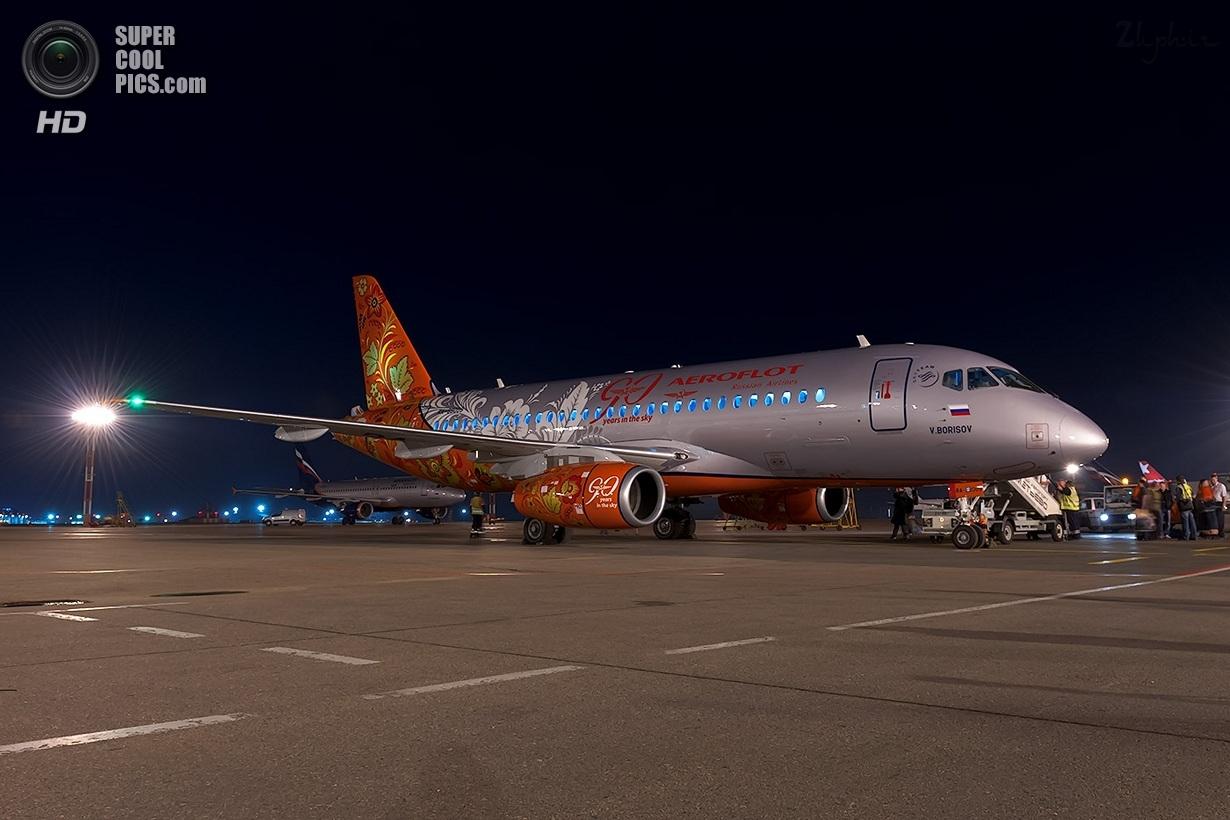 Sukhoi SuperJet plane in khokhloma style