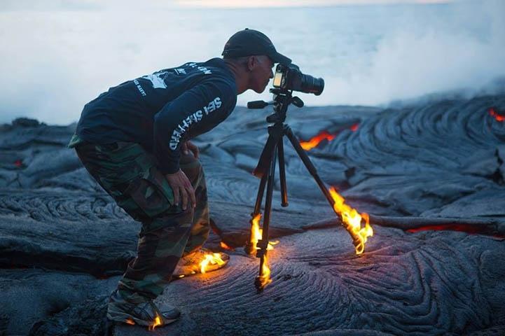 Hot Lava Sets Adventurous Photographer's Feet on Fire