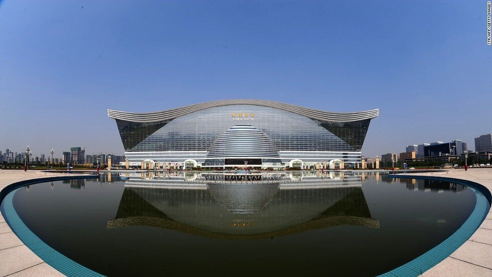 New Century Global Center Is The Worlds Largest Construction With It's Own Sun And A Beach!