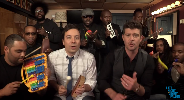 Robin Thicke And The Roots Perform 'Blurred Lines' On Fallon