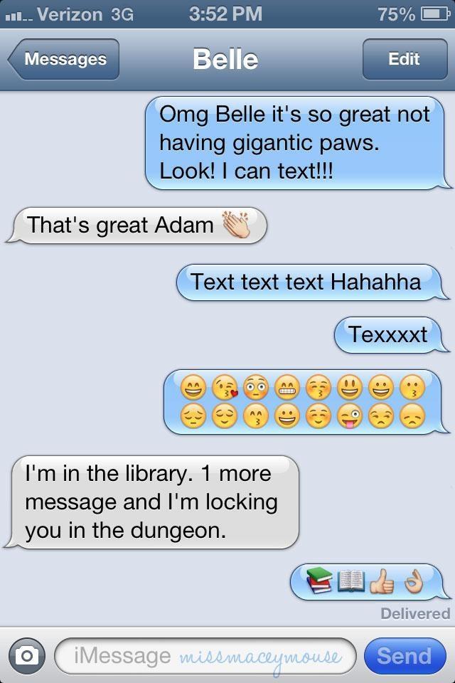 Disney Princesses Text Their Princes