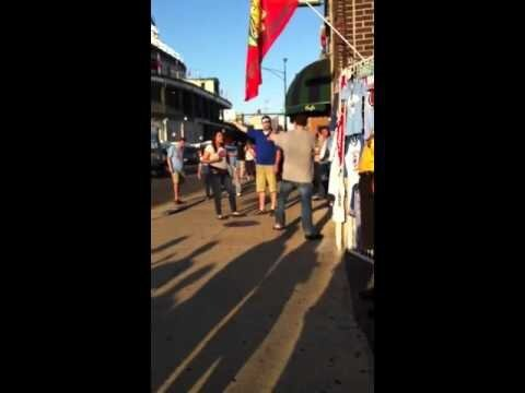 St. Louis Cardinals Fan Tries To Kick Chicago Cubs Fan