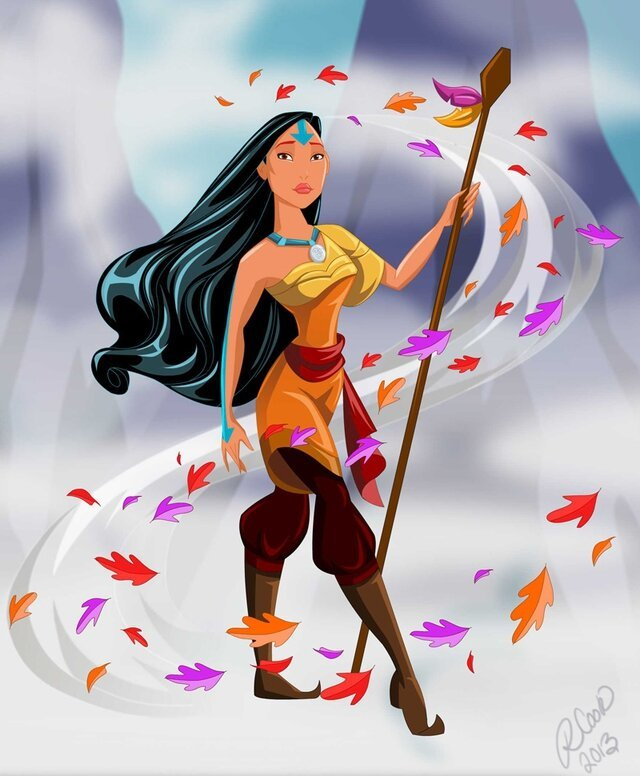 Disney Princesses and Villains Illustrated as Elemental Benders