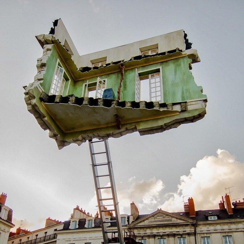 Surreal Floating Room Sculptures by Leandro Erlich