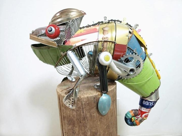 Playful Animal Sculptures Made of Salvaged Materials