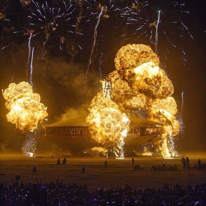 Explosive Photos of the Burning Man Spaceship in Flames
