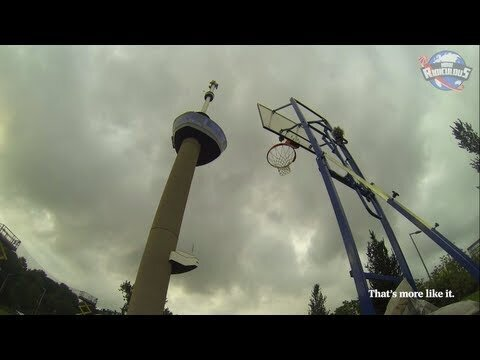 Man shoots a basketball from a 320-foot tower, makes it