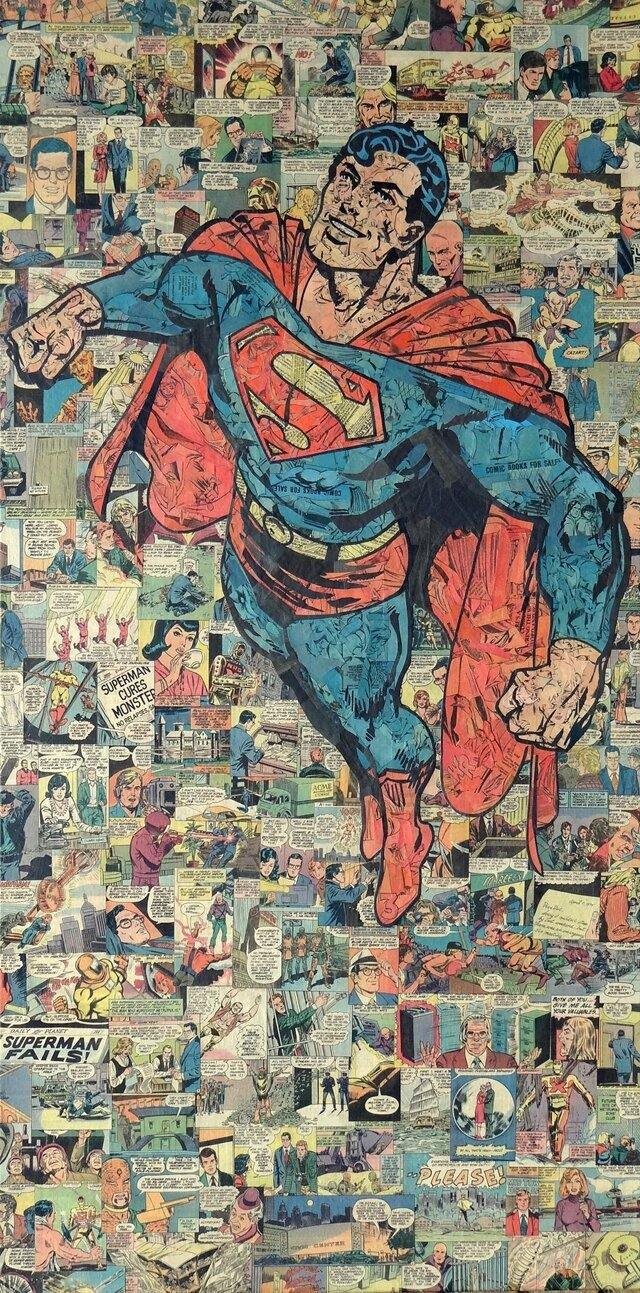 Collages of Superheroes & Villains Made From Recycled Comic Books