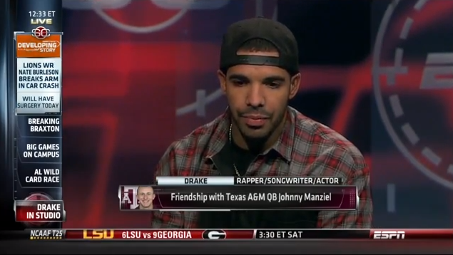 Drake Went On 'Sportscenter' To Discuss His Johnny Football Bromance
