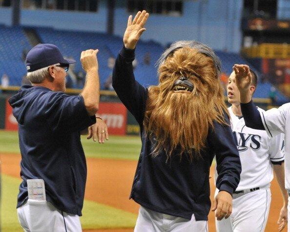 Luke Scott Wore A Chewbacca Mask At The Tampa Bay Rays Game On Friday