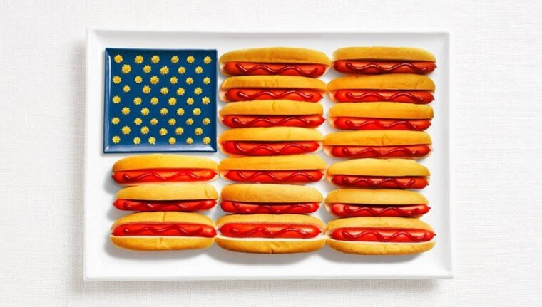 National flags made by national food