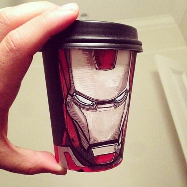 Unusual drawings on coffee cups