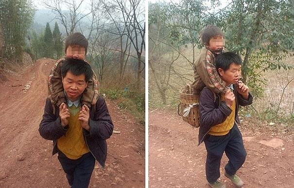 Chinese Father Carries His Disabled Son 18 Miles To School Every Day