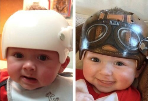 Required baby helmets become a great accessory thanks to a little art