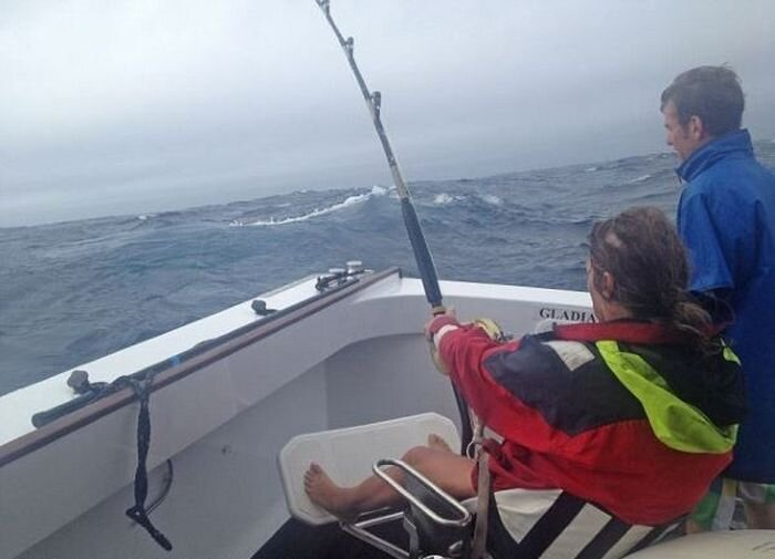 Woman Catches a Big Tuna Fish
