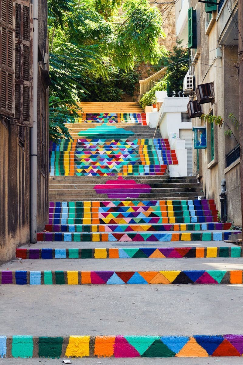 Beautiful examples of colorful and artistic looking city steps