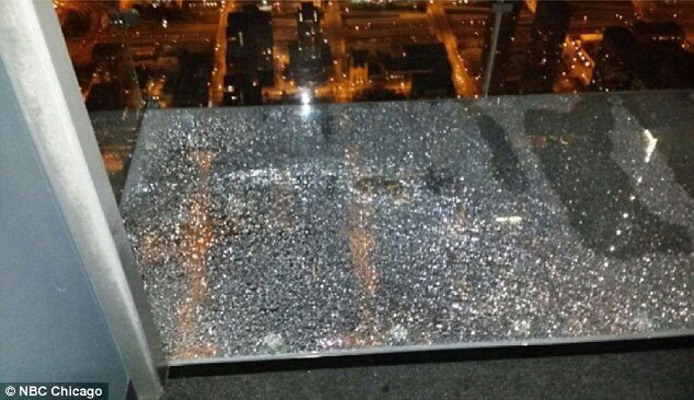 Willis Tower's 103rd floor glass viewing platform CRACKED