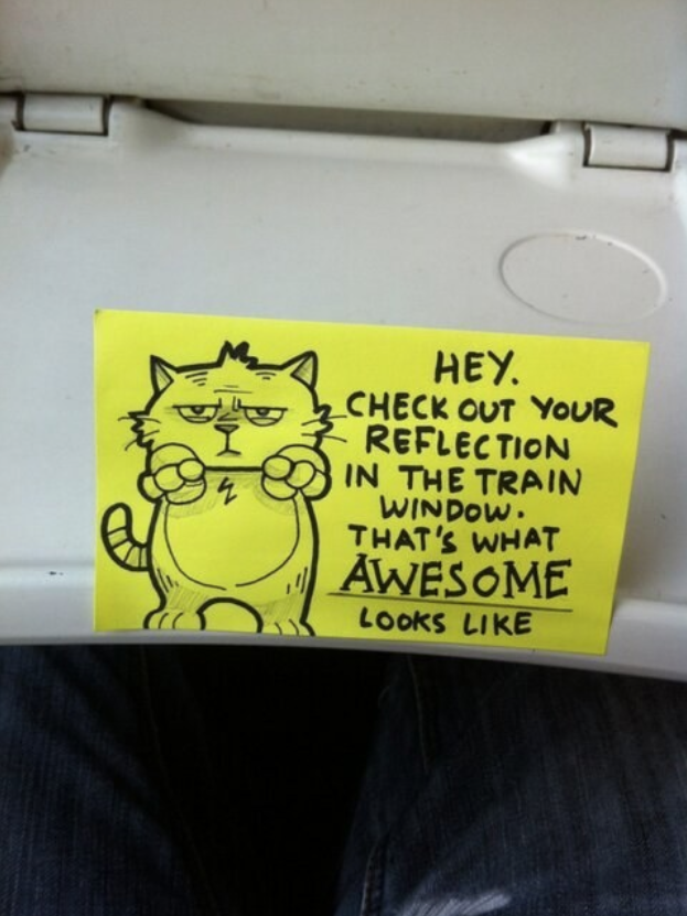 Sweet Motivational Post It Notes to Inspire Train Commuters