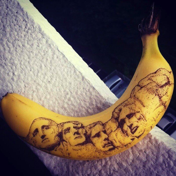 Bananas That Are Tatted Up With Nothing More Than A Toothpick Or Pin