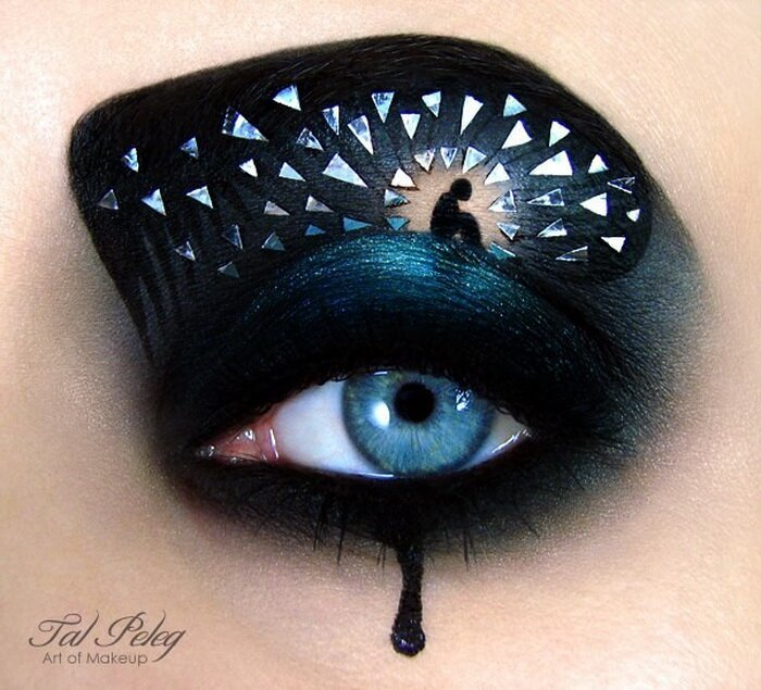 Tal Peleg creates the designs using liquid eyeliner and eyeshadow
