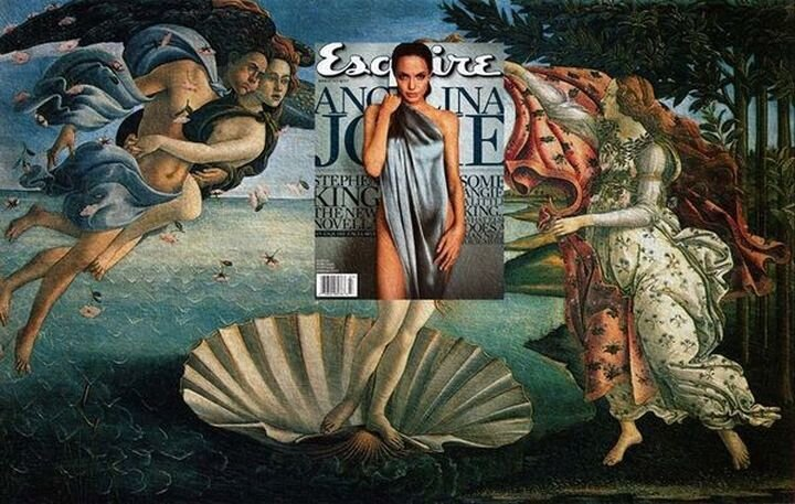 Magazine covers coincidentally fit over classic paintings