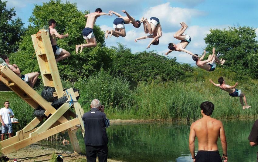 A Human Catapult in Action