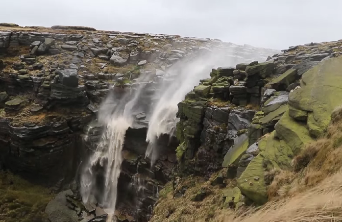 Extremely Strong Winds Cause a 80-Foot Waterfall to Blow Upwards