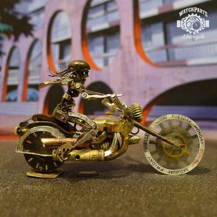 These Guys Made A Motorcycle And Rider Completely Out Of Vintage Watch