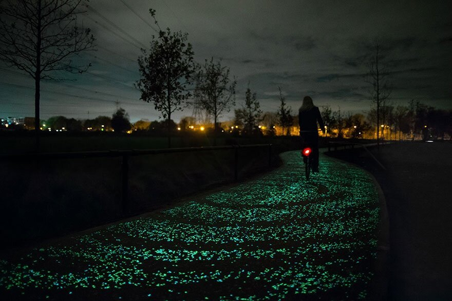 Solar-Powered Glowing Bicycle Path In Netherlands