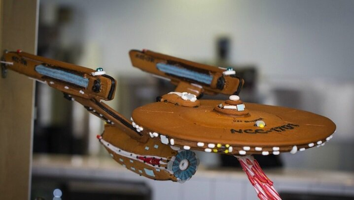 Elaborate Starship Enterprise Sweetly Crafted from Gingerbread