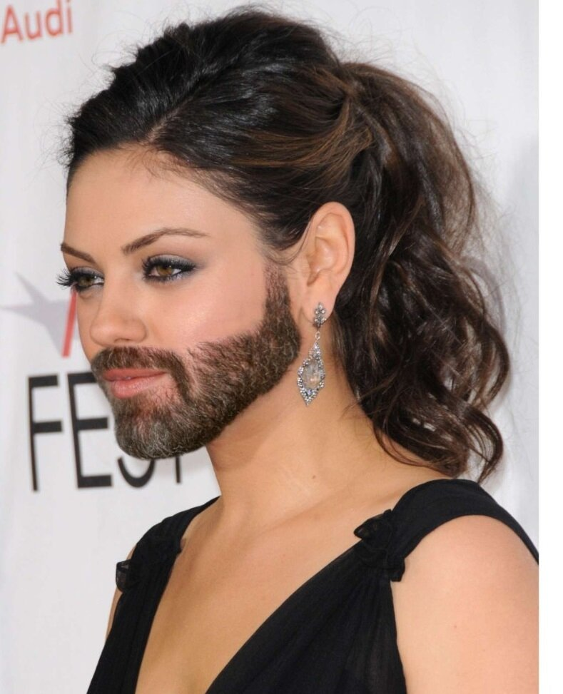 Mila Kunis With a Beard
