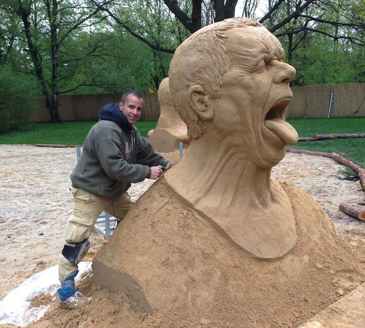 Amazingly Realistic Large-Scale Sand Sculptures by Ray Villafane